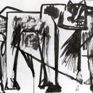 Anthony Caro, Bull, 1954, Brush Ink on Newsprint, 46 x 58.7cm