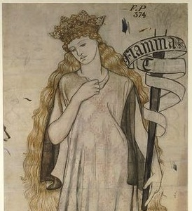 William Morris, Helen Flamma Troiae, 1860, pencil and watercolour