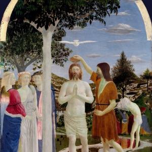 Piero della Francesca. Baptism of Christ. c. 1450. Oil Painting