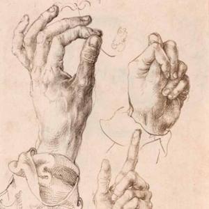Durer, Three studies of the artists left hand, c 1493-94 pen and ink