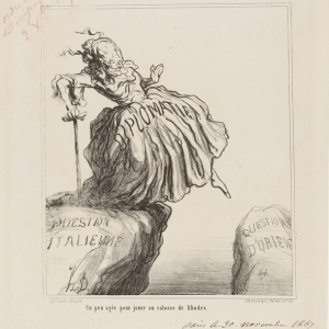 Honoré Daumier, A Bit too old to play Colossus of Rhodes, (un peu agée pour jouer au colosse de rhode,) 1867