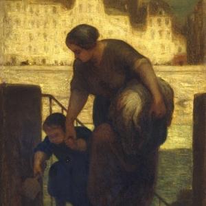 Honoré Daumier, The Laundress, (la sortie du bateau à lessive,) 1861-63