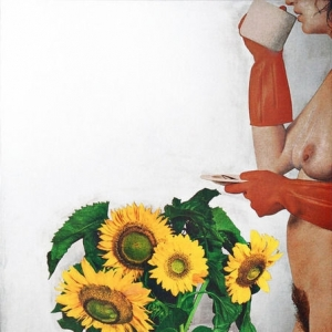 Michelangelo Pistoletto, Donna Nuda con Girasoli, 1974 1975. Silkscreen on mirror
