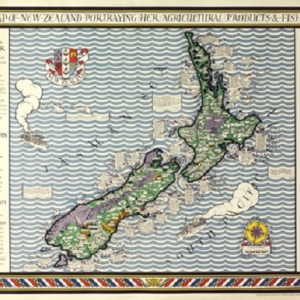 MacDonald 'Max' Gill, Poster Map of New Zealand, 1931
