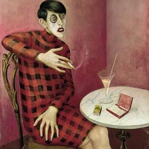 Portrait of The Journalist, Sylvia von Harden, 1926, mixed media on wood