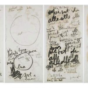 Mira Schendel, Monotypes, 1964-65, oil on rice paper