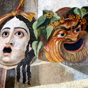Roman artwork of theatrical masks of tradegy and comedy,  2nd Century BC