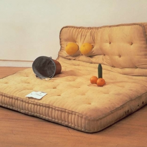 Au Naturel Mattress, Water bucket, melons, oranges, cucumber. 1994