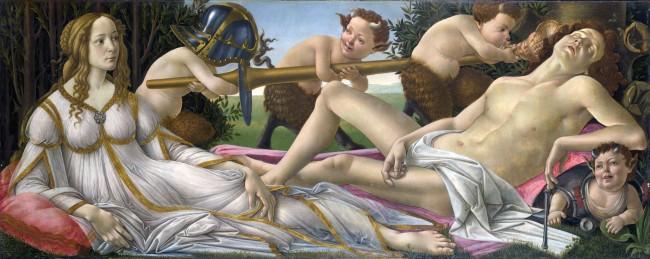 Sandro Botticelli, Mars and Venus, 1483. Oil Paint
